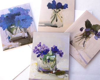 Blue Flowers Notecards, Set of 8 Cards with Envelopes