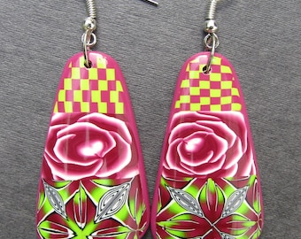 Carmine checkerboard polymer clay earrings