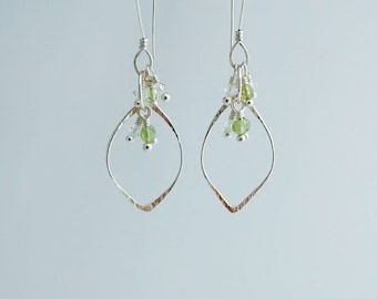 Open Leaf Earrings with Peridots and Crystals