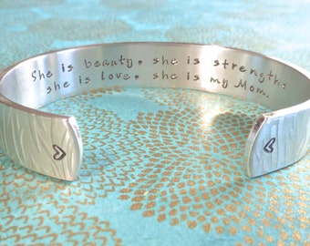Mom Bracelet | Mother's Day| Mommy Gift | She is beauty, she is strength, she is love, she is my Mom. Hand Stamped Bracelet MadeByMishka.com