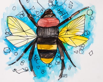 Abundance Bee: original watercolor and ink
