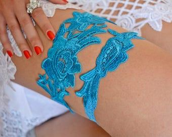 Turquoise Garter, Wedding Garter Lace, Vintage Wedding, Bridal Garter Set, Blue Lace Garter, Garter Blue, Blue Garter Belt, Something Blue