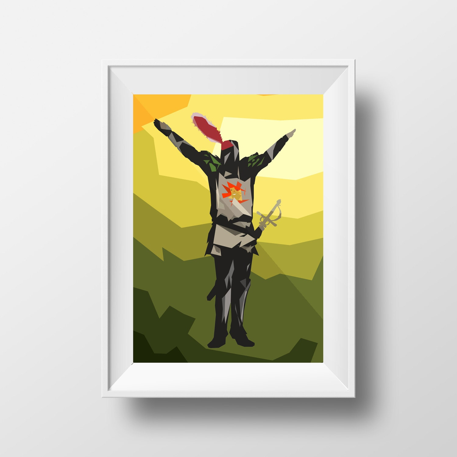 Knight of the sun dark abstract low-poly unique fantasy