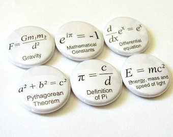 Coworker gift math teacher formulas button pins badges school Pi fathers day science equations physics party favor geek stocking stuffer men