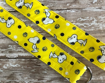 PERFECT GIFT - Fabric Belt - D Ring - Kitchy - Peanuts - Snoopy - Made in ANY Size - Boutique Mia