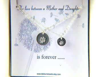 Mother and Daughter Necklace Set, Set of two Dandelion Necklaces, Mother and Child Necklaces