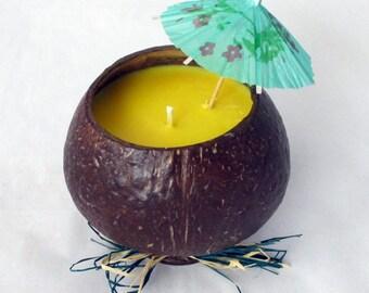 Hawaiian candle, coconut candle, coconut bowl, tropical candle, hawaiian luau, container candle, Tropical Fruit Salsa, authentic coconut