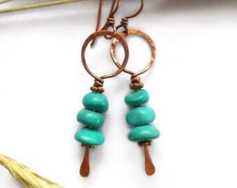 Turquoise dangle earrings, wire earrings, boho earrings, boho jewelry, tribal earrings, bohemian earrings, bohemian jewelry, tribal jewelry