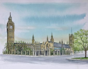 Houses of Parliament - London, Original Painting by Roisin O'Shea