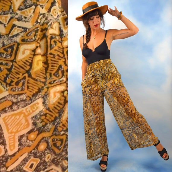 Vintage 90s does 70s High Waisted Sheer Tribal Print Silk Palazzo Pants (size small)