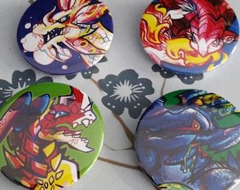Assorted Monster Hunter buttons