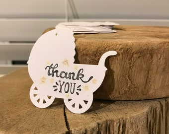 Baby Carriage Gift Tags For Baby Shower, Party, Thank you cards