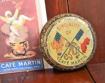 Antique French tin Cafe Martin coffee tin Litho advertising French & American flags Victorian design 1910's Famous Paris Cafe Vintage French