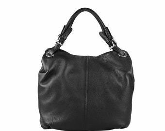 NEW - Soft pebbled Medium Leather Grab Handle Tote Handbag, Black, Handmade in Italy, VodkaBlue