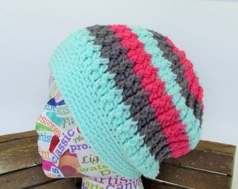 Womens Crochet Hat, Crochet Slouchy Beanie, Boutique, Winter Beanie, Striped Slouch Hat, Tam, Pink, Grey, Mint Green Hat, Textured Beanie