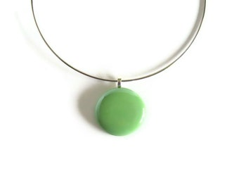 Statement Green Pendant with Neck Wire Choker