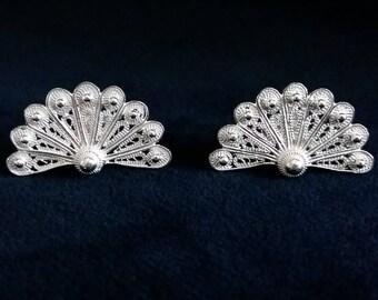 Spanish Fan Earrings, Sterling Silver Earrings, Filigree Earrings, Silver Studs, Flamenco, Filigree Studs, Filigrana Cordobesa, Gift Idea