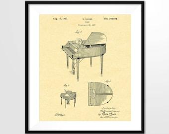 PIANO Patent Poster - 1937 Zaiser Piano Design - Piano Print, Piano Music Art, Musical Instrument Print, Digital Download, Wall Art Print