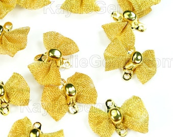 Mesh Bow Knot Link Connector Charm Gold - 12 pcs
