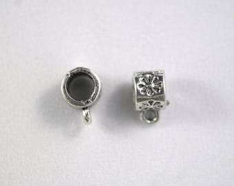 Set of two flowers 10 x 17 mm silver plated bails