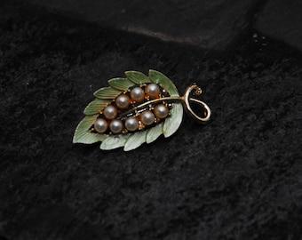 """Vintage Brooch, Green Leaf w """"Pearls"""""""