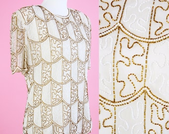 Vintage Stenay Beaded Top // 80s, 90s, White, Gold, Sequin, Beaded Party Blouse, 1990s Women Size Medium