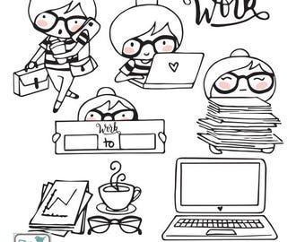 Planner Girl - Work Stamp Clipart - Planner Stickers, scrapbook , card design, invitations, paper crafts, web design, INSTANT DOWNLOAD