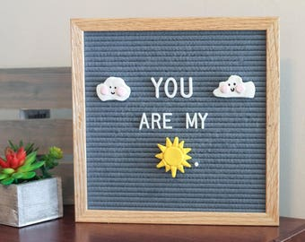 SUNSHINE and CLOUDS Clay Letter Board Ornaments (Pack of 3) / Felt Letter Board Accessories