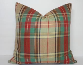 Holidays are HERE! Plaid is IN! Covington Plaid Pillow Cover 18x18 Red Green Yellow Gold White Pillow Cover