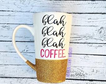 Blah Blah Blah Coffee Cup // Glitter Coffee Cup // Cute Coffee Cup