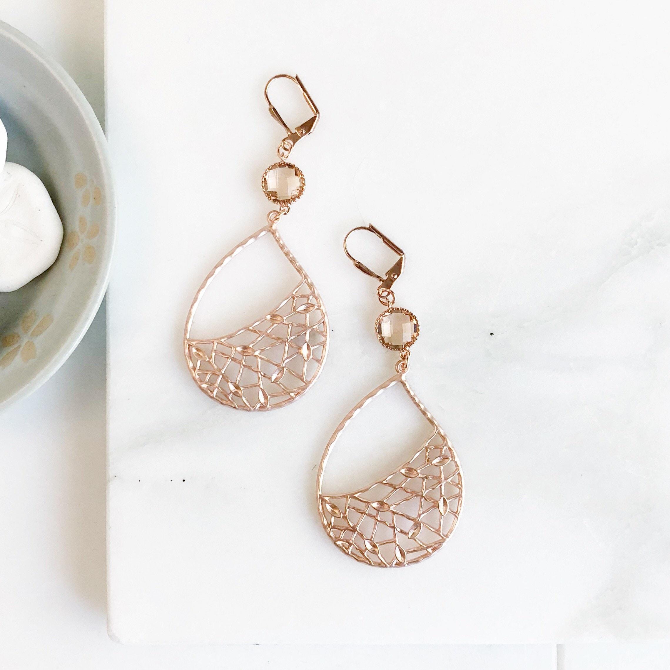 Rose gold chandelier earrings dangle earrings rose gold statement rose gold chandelier earrings dangle earrings rose gold statement earrings jewelry gift modern fashion earrings chandelier earrings arubaitofo Image collections