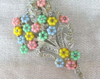 Vintage 1930s Brooch 30s Colorful Flower Bouquet Pin with Rhinestones in Pot Metal Unsigned