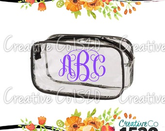 Vine Monogram Clear Makeup Bag | Custom Makeup Bag | Clear Makeup Bag Wedding | Bridesmaid Gift | Bridesmaid Gift Idea | Clear Clutch