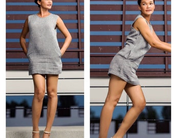 Gray  Sleeveless short dress all size