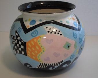 Whimsical FISH BOWL hand painted vase