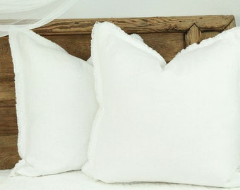 White linen cushion, white linen pillow, linen pillow, linen cushion, linen pillow cover, linen throw pillow, linen frayed pillow