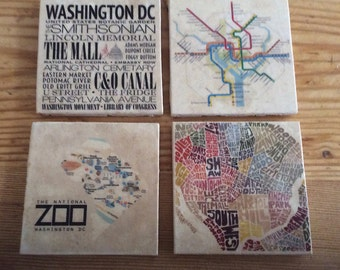 Washington DC Tumbled Marble Coasters, Set of 4, can be customized and personalized: other cities available