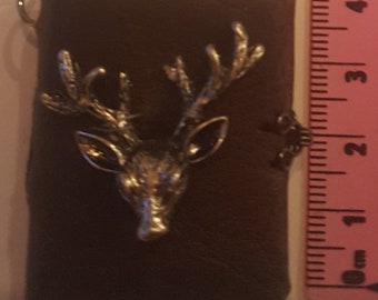 Hand made miniature book brown with clasp& deer head. miniature book charm journal/ spell book/ diary