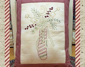 Hope Stocking--Primitive Stitchery E-PATTERN by Primitive Stitches-Instant Download