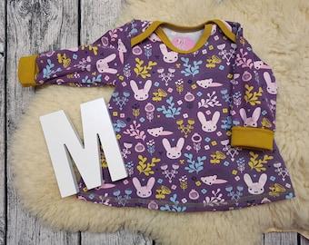 Tunic, baby tunic, American neckline, long sleeve tunic, longsleeve, gift, baby, Mitwachstunkia, hare, Flowers, Bunny, hedgehog, purple