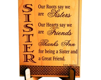 Custom Keepsake Gift for Sister, Gift for Big Sister and Friend, Personalized Twin Sister to Sister gift, Our roots say we are Sisters Gift