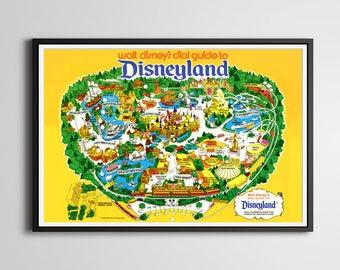"Vintage 1979 DISNEYLAND ""Dial Guide"" Map POSTER! (24"" x 36"") - Fantasyland - Tomorrowland - Frontierland - Souvenir - Disney"