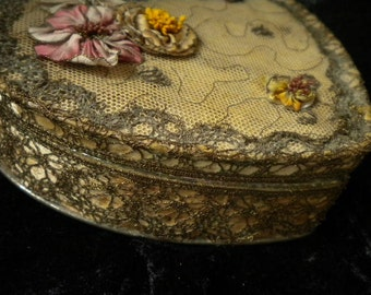 Heart Antique Ribbonwork Metal Treasure Box with Bullion metallic trim and lace (FFs1315)