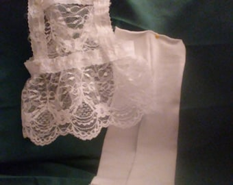 """18"""" doll tights and Lace Pinafore"""
