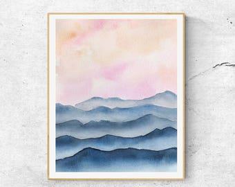 Watercolor Mountains, Blue Watercolor Mountain Print, Watercolor Mountain Art, Watercolor Landscape, Abstract Mountain Art, Modern Wall Art
