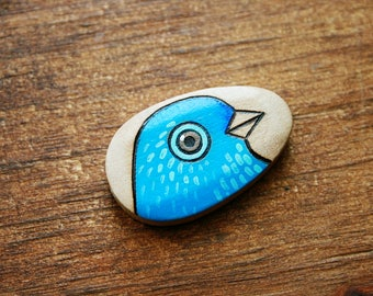 Blue Bird Burned and Hand Painted Wood Bead