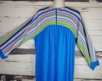Vintage Blue Pastel Striped Terry Cloth House Dress House Coat Robe Dressing Gown Mrs. Roper Muumuu