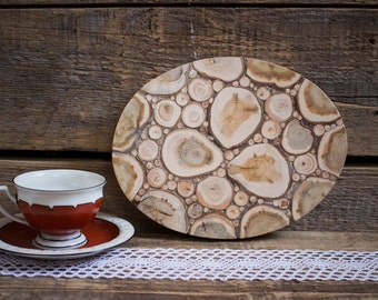Juniper Wood Oval Trivet, Natural Handmade Coaster, Rustic Home Decor, Wooden Kitchen Utensil, Untreated Wood