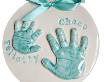 Brothers & Sisters Handprint Keepsake -  Twins, Siblings 3D Hand Imprint Stamps Ceramic Wall Hanging