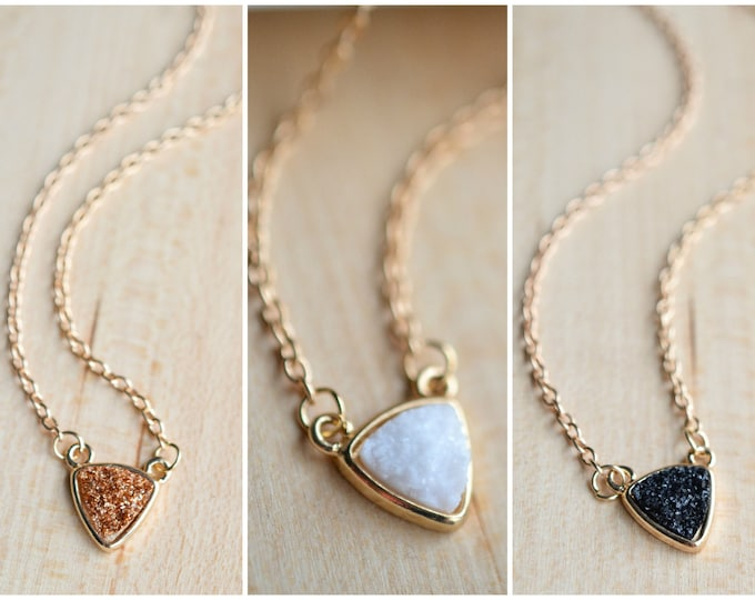 Druzy Necklace. Druzy Bar Necklace 8 colors!! Druzy Necklace - Druzy Pendant - Druzy Jewelry- Sparkle Necklace - Druzy set - Gold Druzy